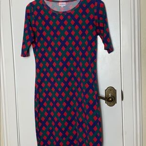 LulaRoe size Sm dress, Red, green and blue